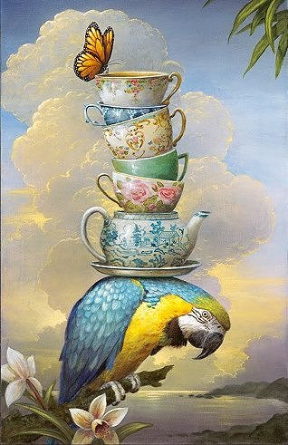 A painting of a parrot weighed down by a stack of ornate teacups