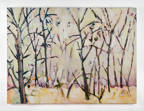 An acrylic painting of birch trees in the snow