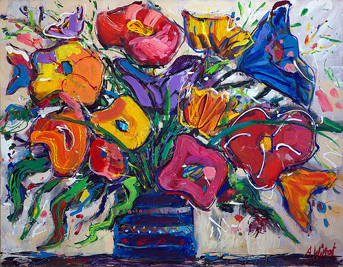 An abstracted painting of a colourful bouquet