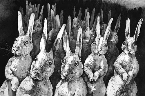 An intaglio print of an army of anthropomorphic bunnies