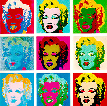 A series of coloured screenprints of Marylin Monroe's face