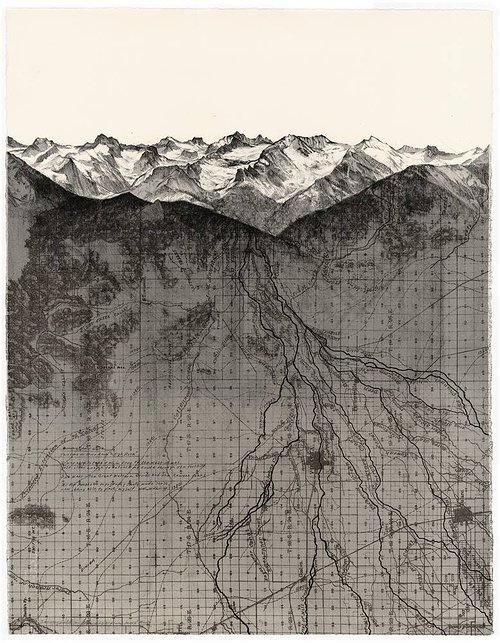 a printed image of a mountain range with cartographic overlay