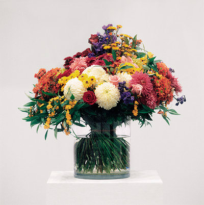 A photo of an artistic flower arrangement