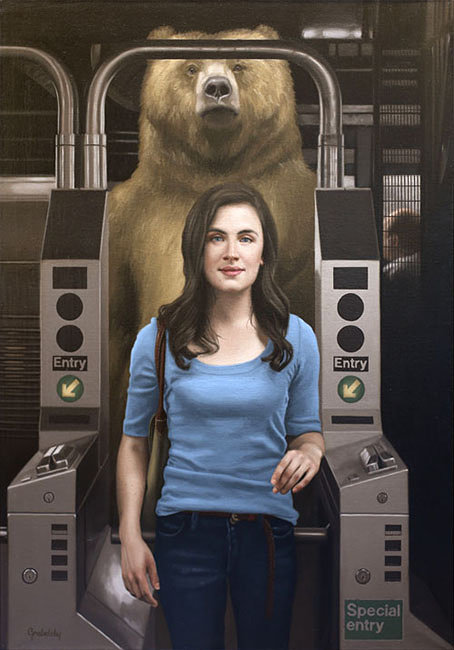 An oil painting of a woman standing in front of a bear in the New York subway