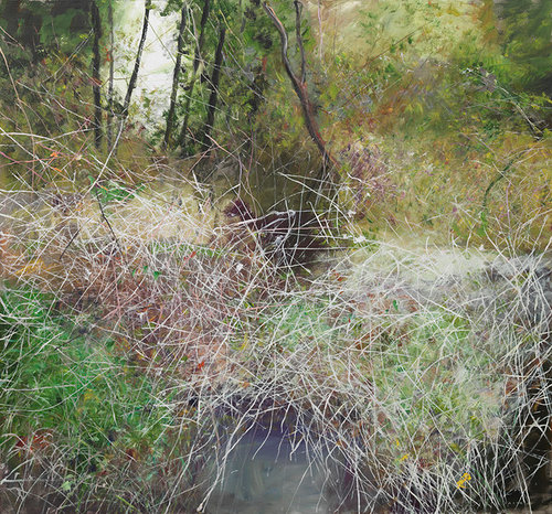 A painting of tangled grass next to a creek