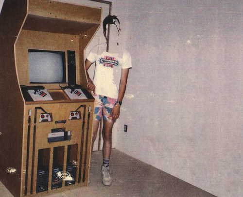 An image-transfer piece of a young boy standing in front of a nintendo arcade game