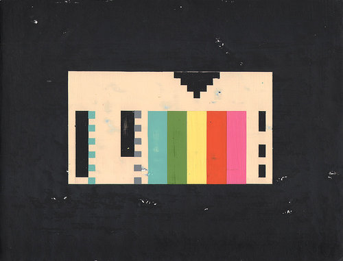 A painting of a pixellated VHS tape