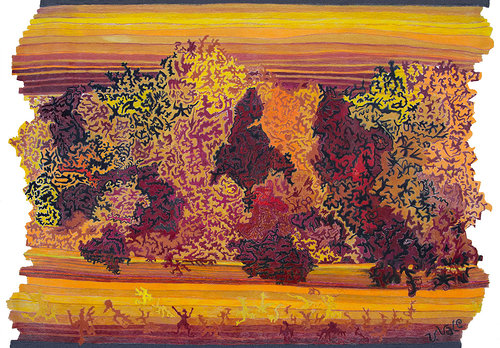 An abstracted, colourful drawing of trees