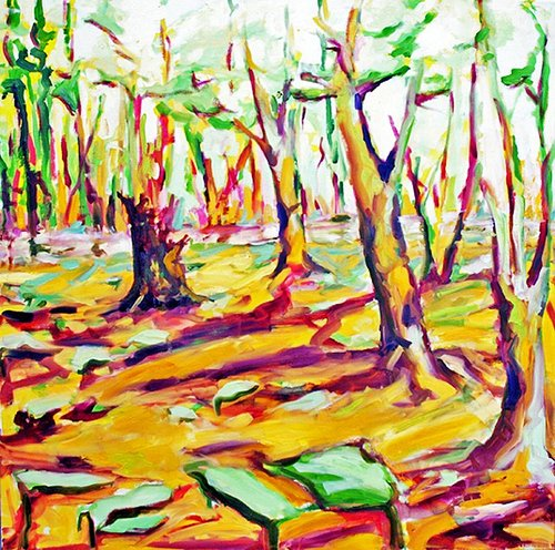 A colourful painting of a wooded clearing