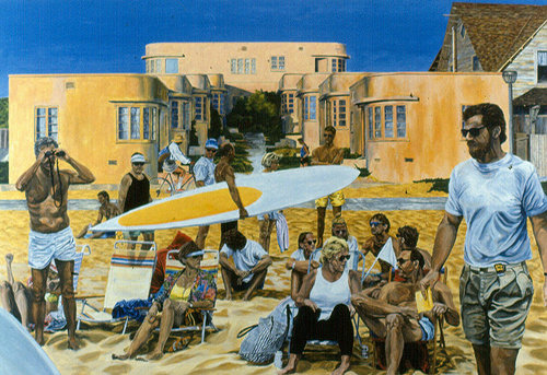 An oil painting of a crowd of people on a beach
