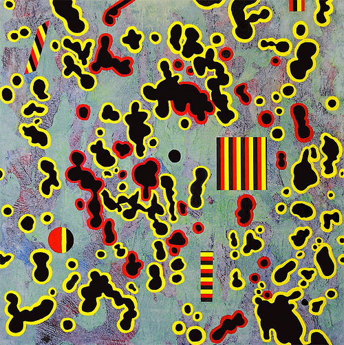An abstract painting with black bacteria-like shapes on a pale background
