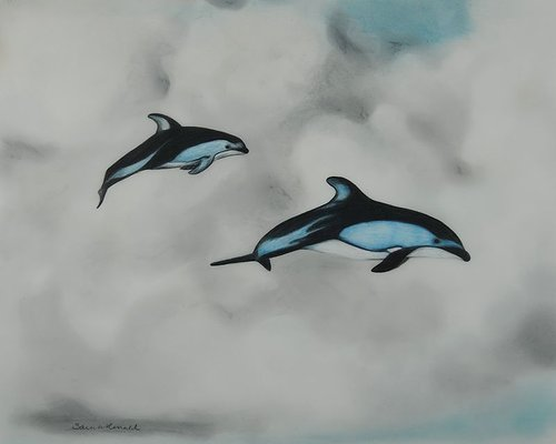 A drawing of two dolphins flying through the sky
