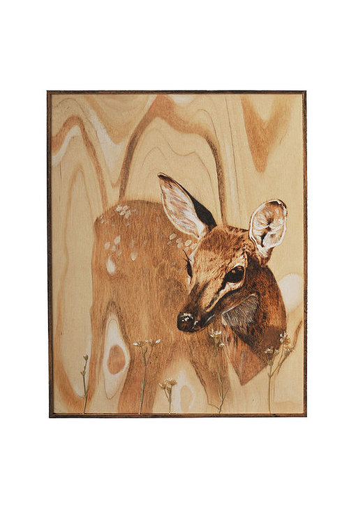 A painting of a deer that blends into the grain of the wood panel it is painted on