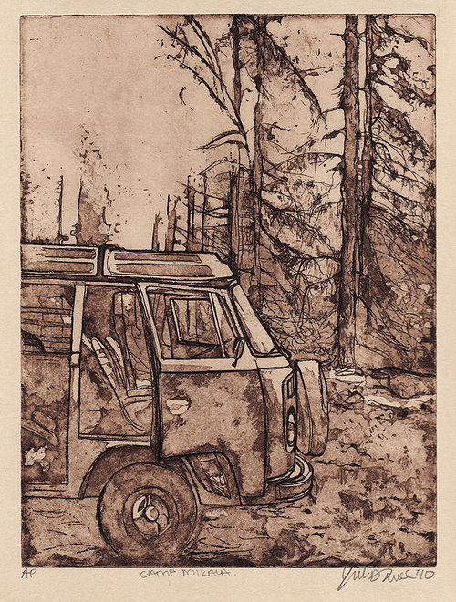 An etching of an old van parked in the wilderness