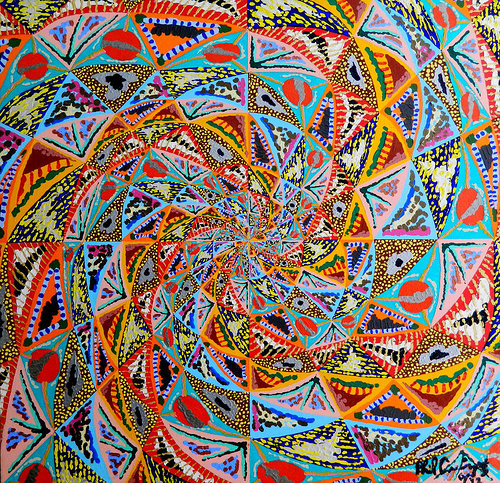 A painting made to look like an endless spiral of colour and pattern