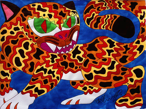 An ink painting of a jaguar in bright, psychedelic colours