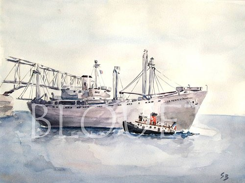 A watercolour painting of a large ship at harbour