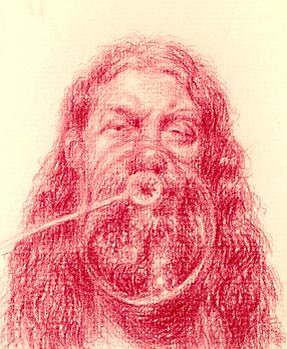 A drawing in red crayon of a long-haired, bearded man blowing bubbles