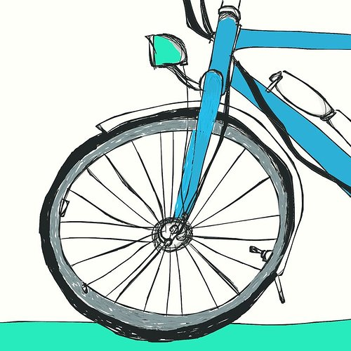 Drawing of a front bike tire