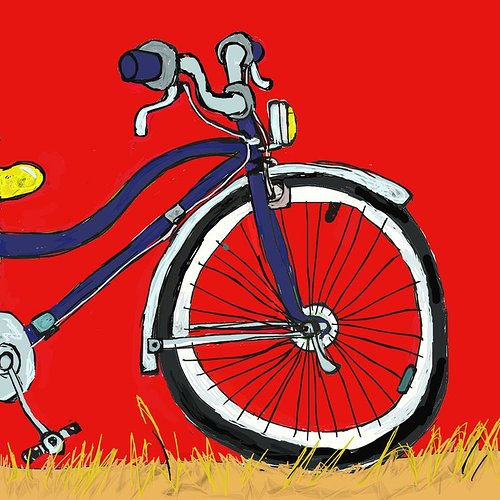 Drawing of a bike on a red background