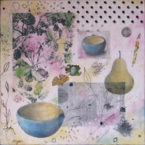 An encaustic collage with images of kitchen implements and patterns
