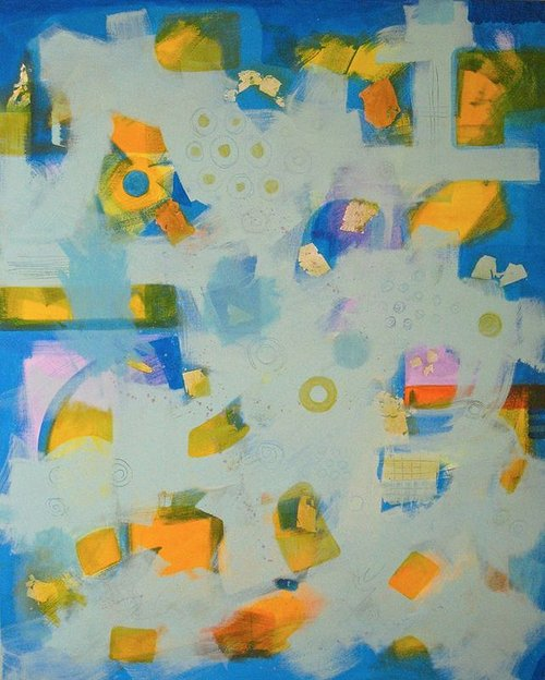 An abstract painting with blue and yellow tones