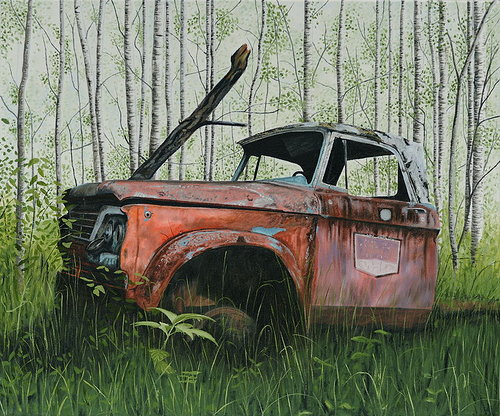 An oil painting of an old truck decaying in the woods