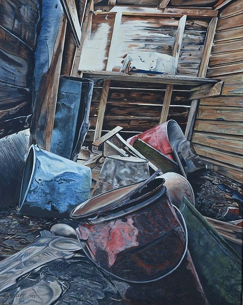 An oil painting of some junk inside an abandoned building