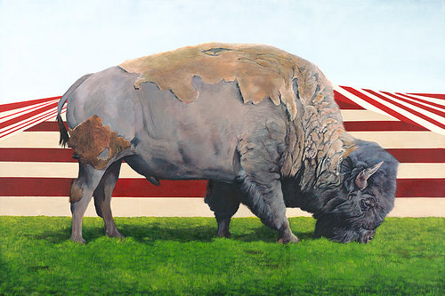 An oil painting of a buffalo in front of a strange geometric landscape