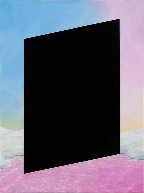 A painting of a black parallelogram on a pinkish landscape