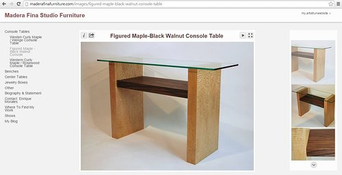 A page of console tables on Madera Fina's webpage