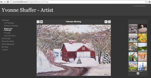 A screen capture of watercolour paintings on Yvonne Shaffer's website
