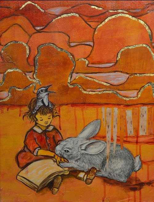 A mixed media painting of a girl reading a book to some rabbits