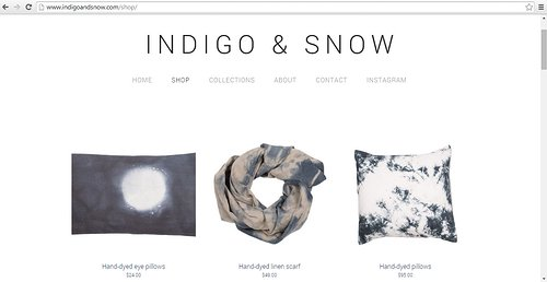 A screen cap of the shop on Indigo and Snow, Annabella Sardelis' website