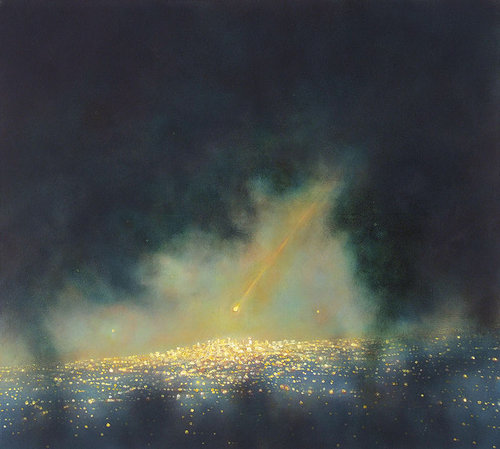 oil painting of comet approaching a city at night