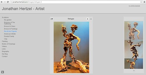 A website screen capture of Jonathan Hertzel's sculptures