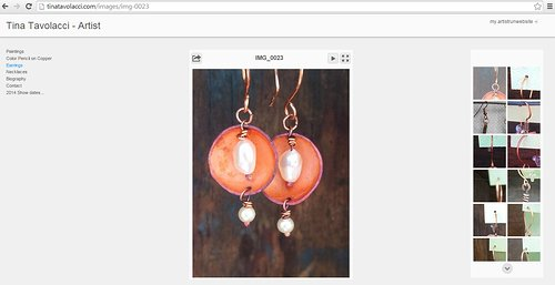 A set of earrings on Tina Lavolacci's art website