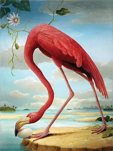 Detailed painting of a flamingo