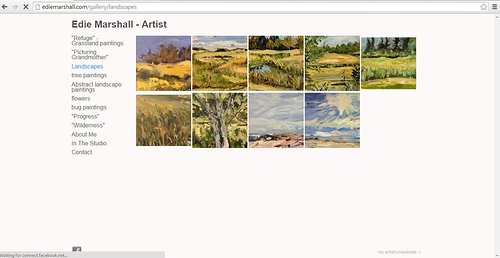 Webpage screen capture Edie Marshall's landscapes gallery