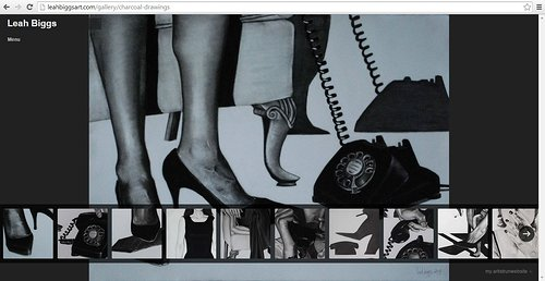 Portfolio website of Leah Biggs' charcoal drawings.