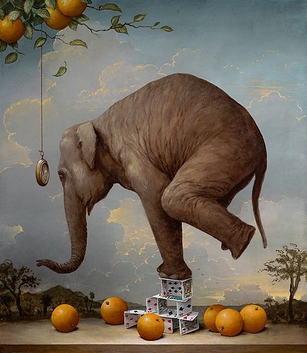 Oil painting of an elephant balancing on a deck of cards