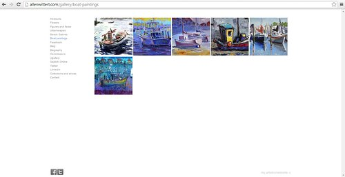A page of paintings of boats by Allen Witter on his website