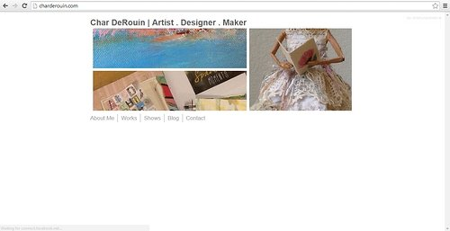A screen capture of the front page of Char Derouin's website