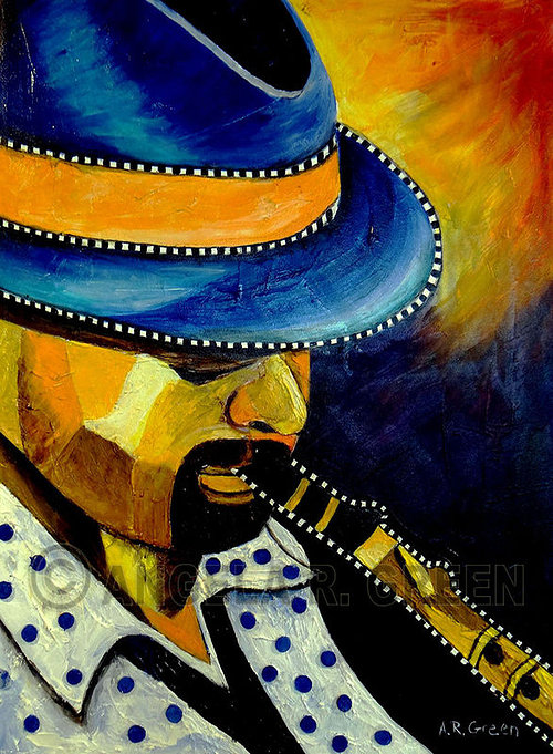 A painting of a jazz musician in bright blue and yellow tones