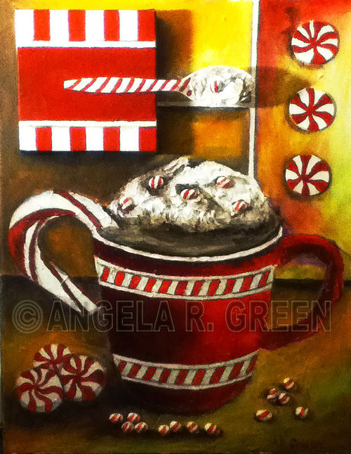 An oil-painted cup of coffee on canvas with 3-D embellishments,