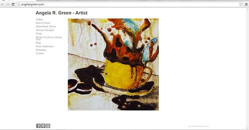 The front page of Angela R. Green's website of paintings