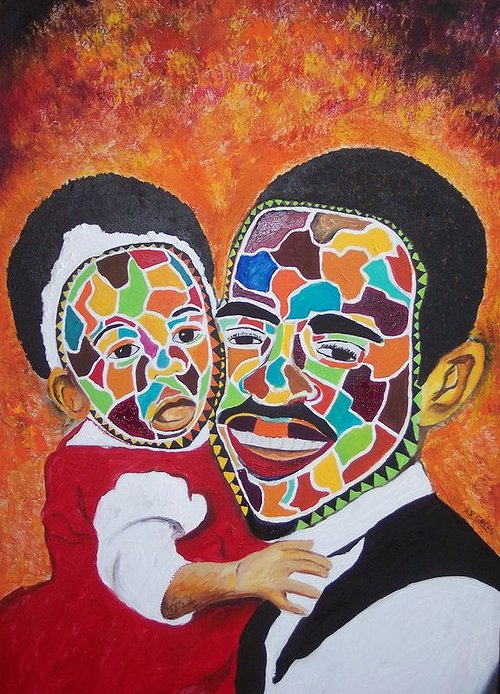 An acrylic painting of a father and daughter with abstracted faces