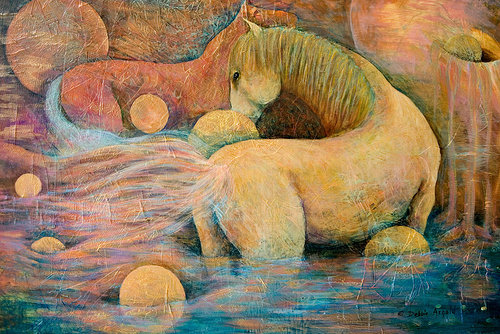 A hazy, neutral-toned painting of two horses blending into an abstract background