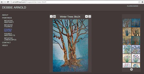 A website screen capture of Debbie Arnold's pour paintings