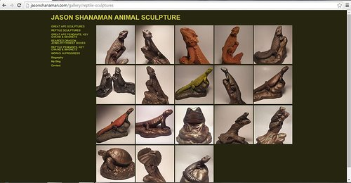 A gallery of reptile sculptures on the website portfolio of Jason Shanaman